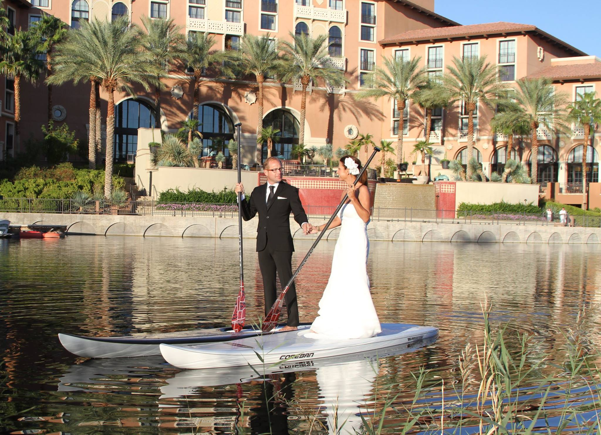 Landscape At Westin Lake Las Vegas Bride And Groom On Paddle Boats
