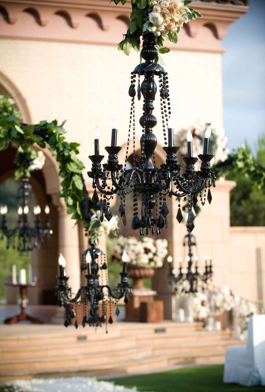 Luxury wedding ideas chandeliers with fresh flowers inside weddings black chandelier with flowers on top at wedding ceremony arubaitofo Image collections