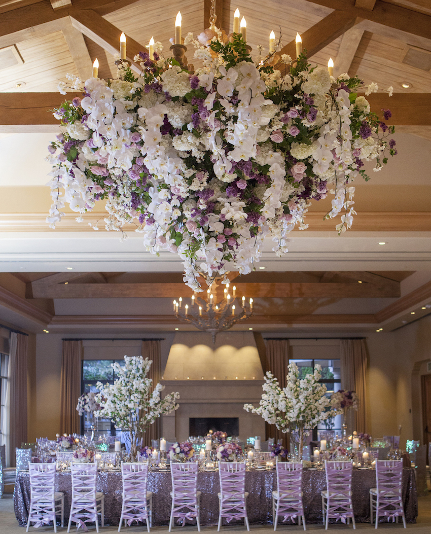 Luxury Wedding Ideas: Chandeliers With Fresh Flowers