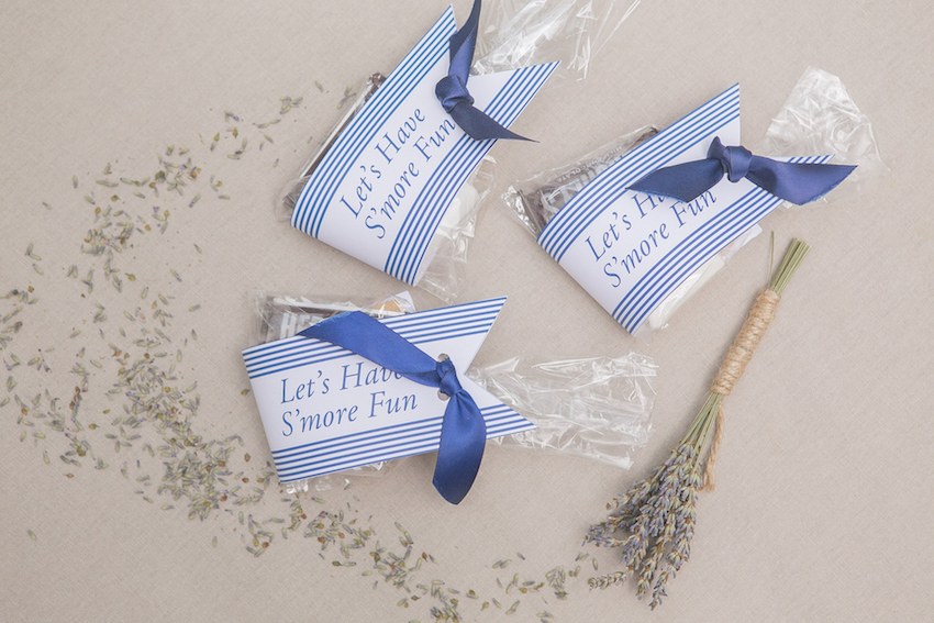 S'mores wedding favors in blue and white