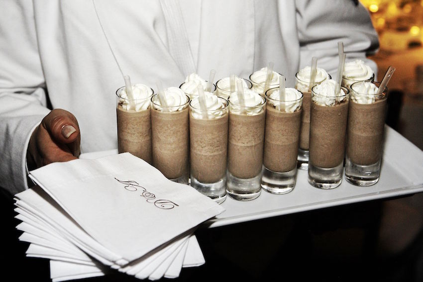 Miniature milkshakes at wedding reception