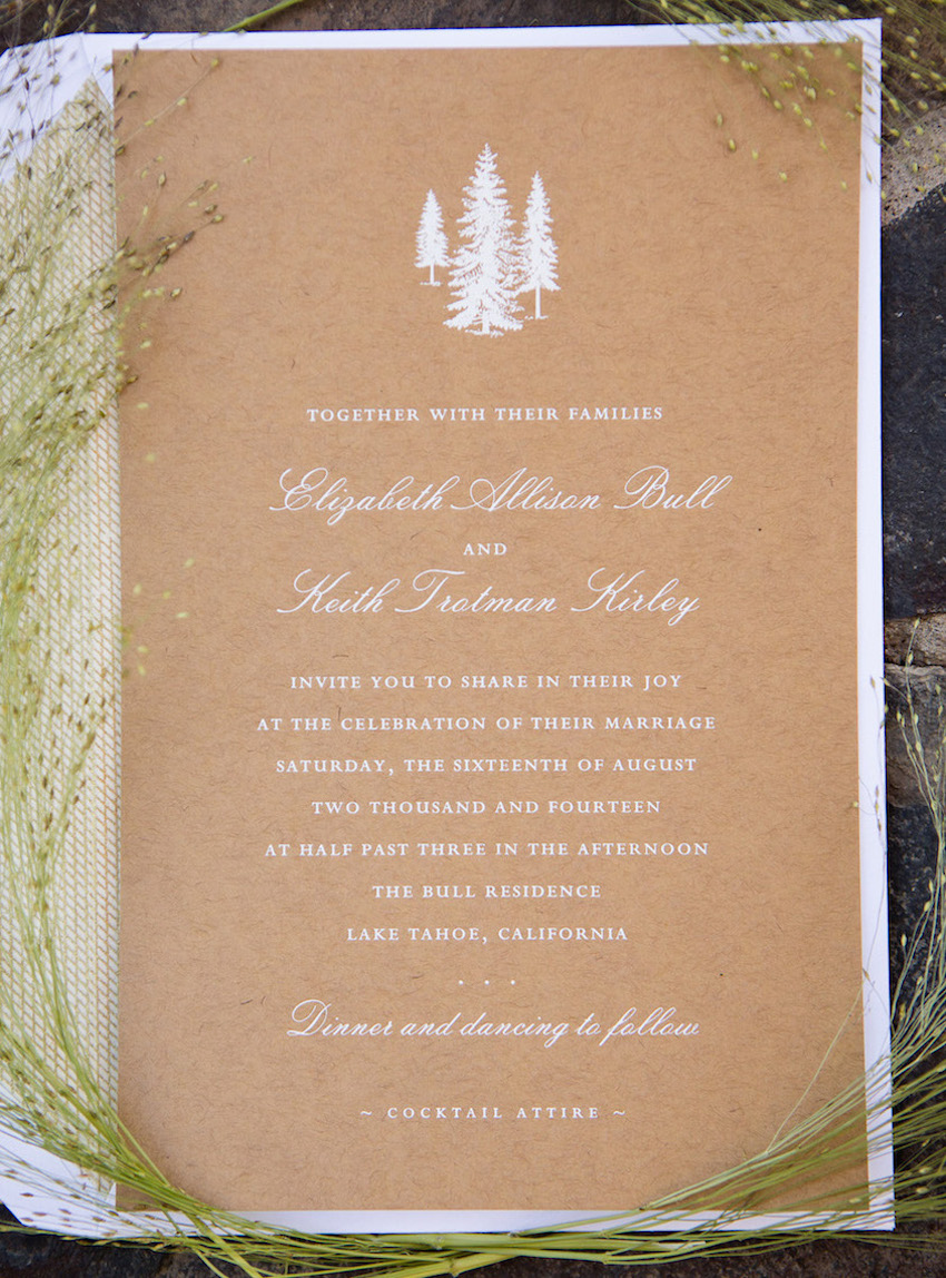 Rustic outdoor wedding ideas inside weddings rustic wedding invitation on kraft paper with white ink junglespirit Image collections