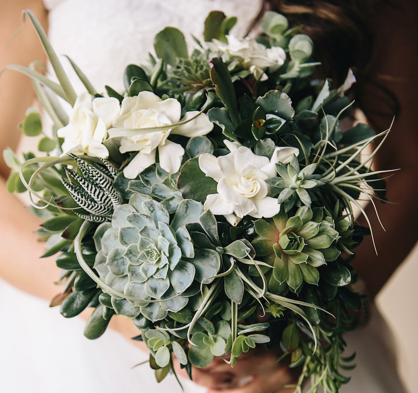 Rustic wedding bouquet with succulents