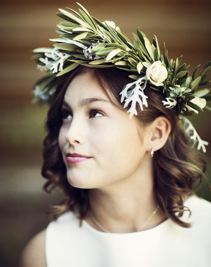 Rustic winter wedding flower plant headpiece