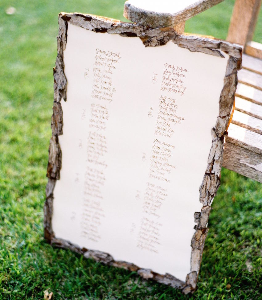 Seating chart with rustic wood border