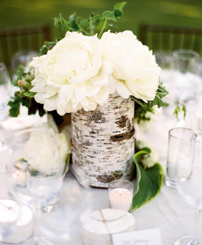 Birch wrapped centerpiece at wedding