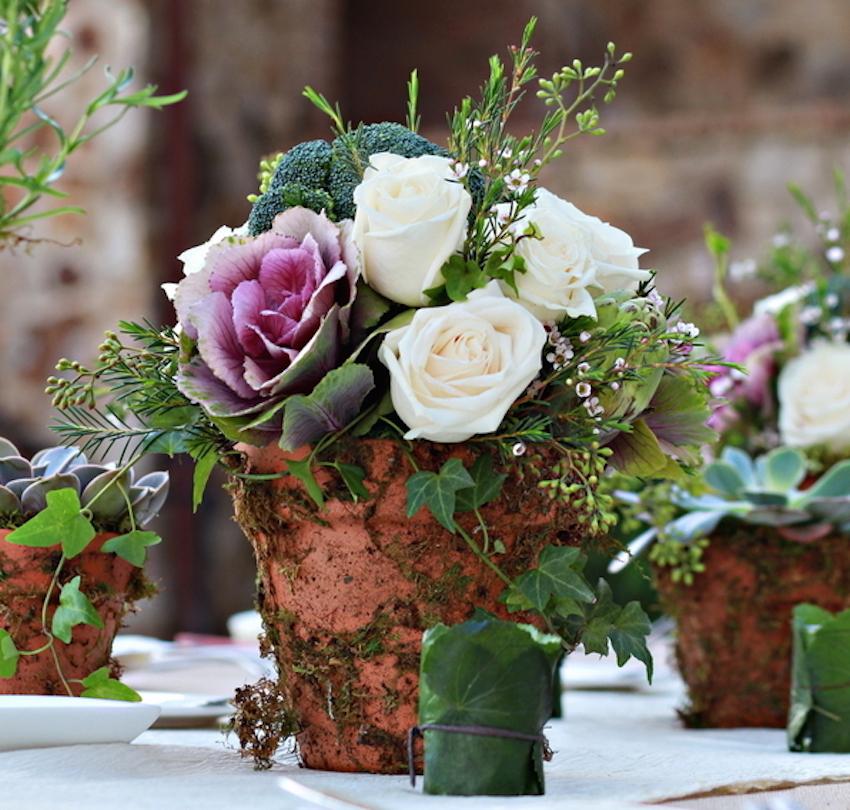 Terracotta pot centerpiece with moss