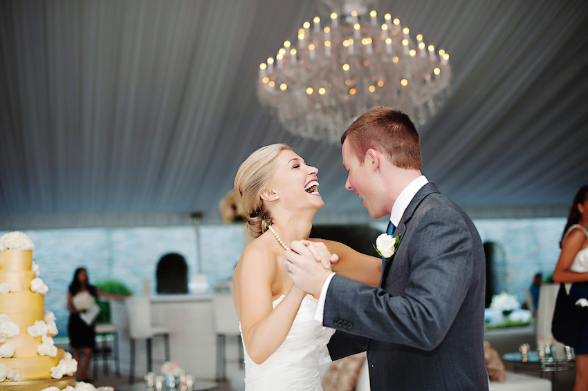 Bride with pearl necklace first dance