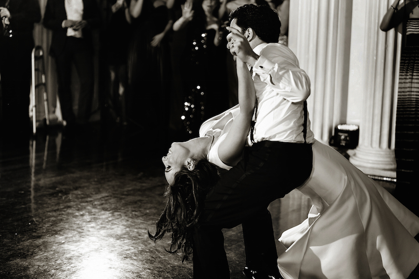 Black and white photo of dip on dance floor