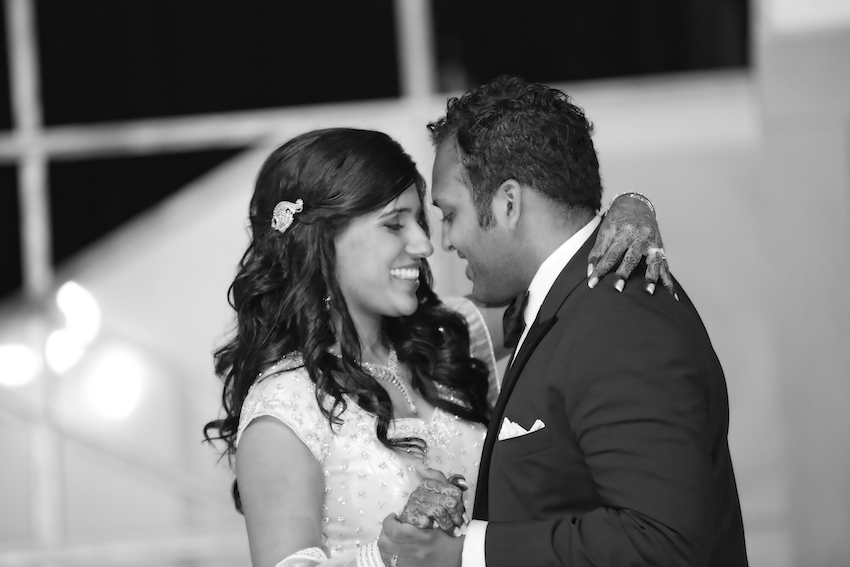 Black and white photo of Indian wedding first dance