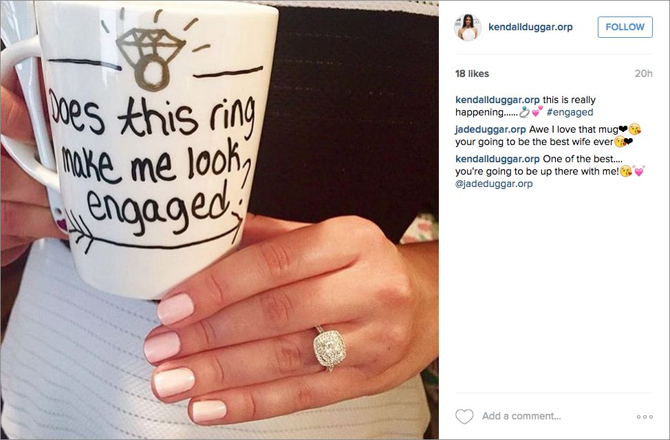 Coffee mug instagram engagement announcement