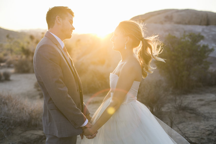 Sunset engagement session in Joshua Tree