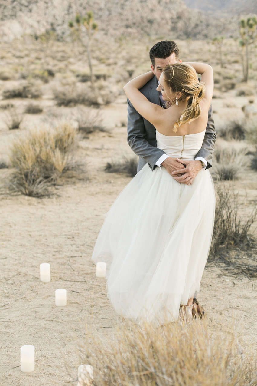 Candles in Joshua Tree engagement photo