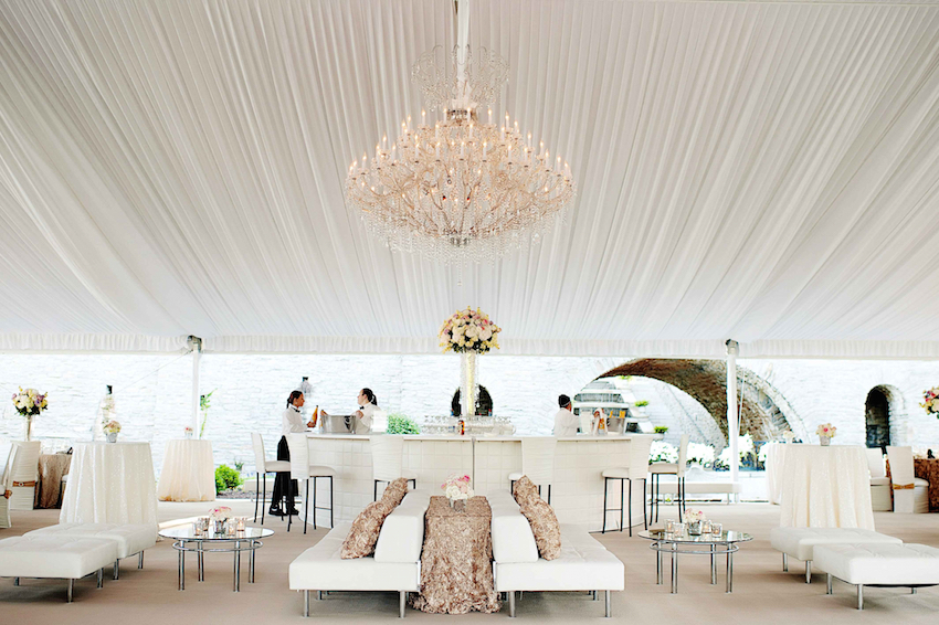 White tent wedding bar design