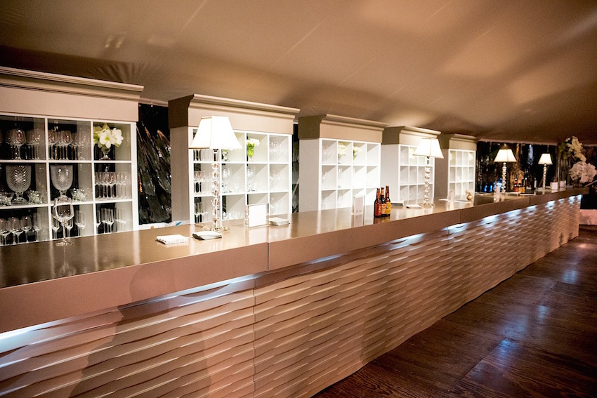 White shelf wedding bar at reception