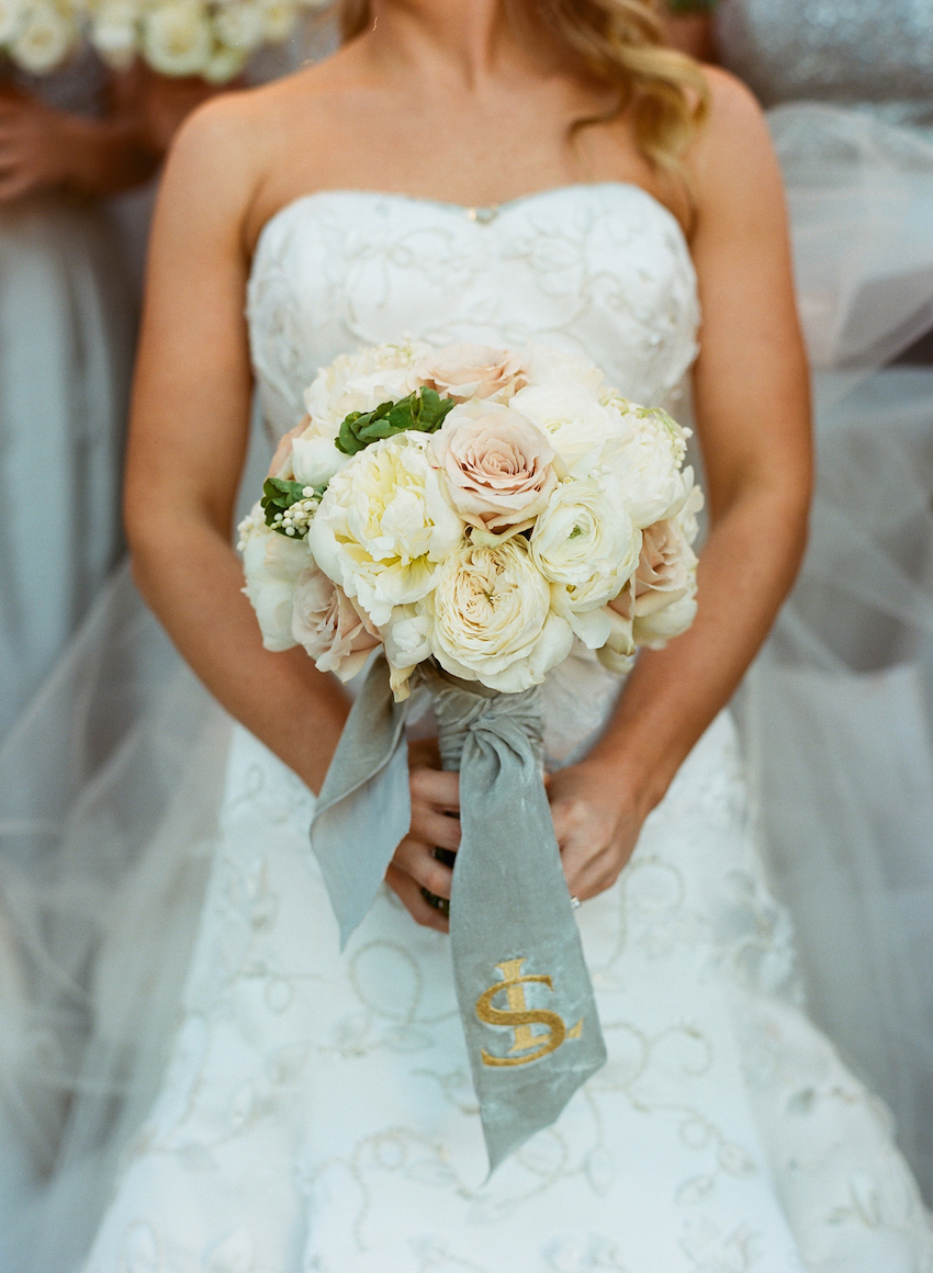 Silver velvet ribbon with monogram on bouquet