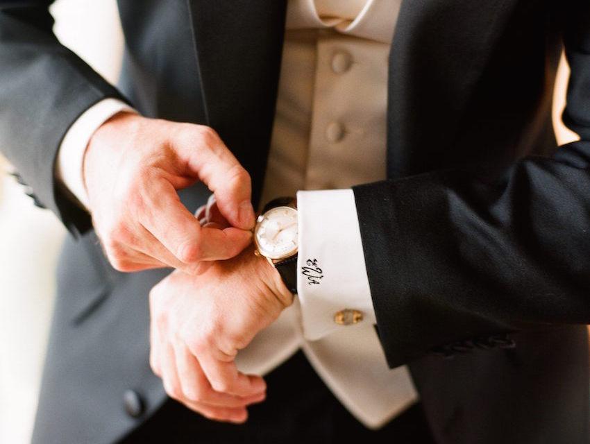 Groom With Monogram White Shirt Cuff