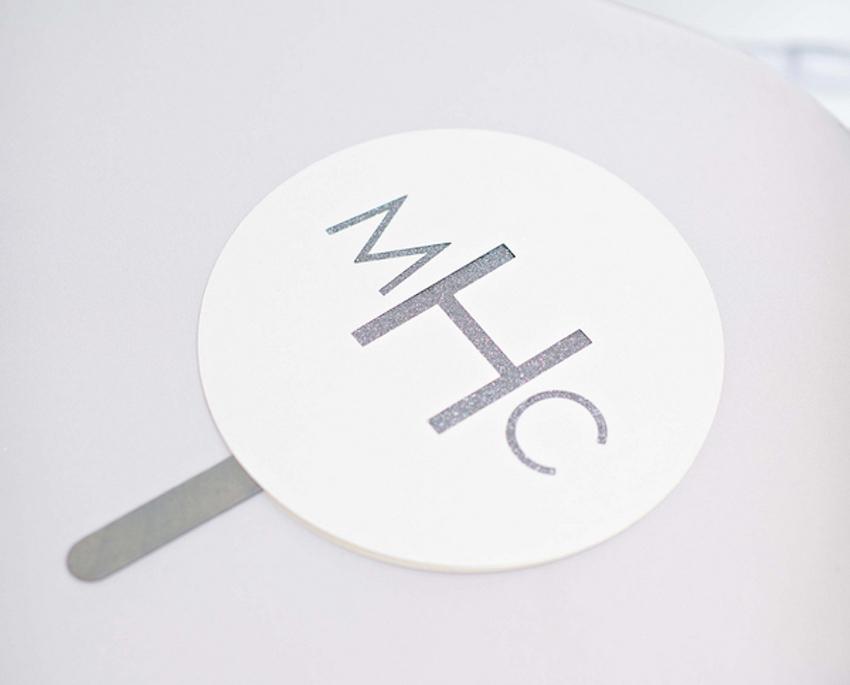 Silver glitter monogram paper fan wedding
