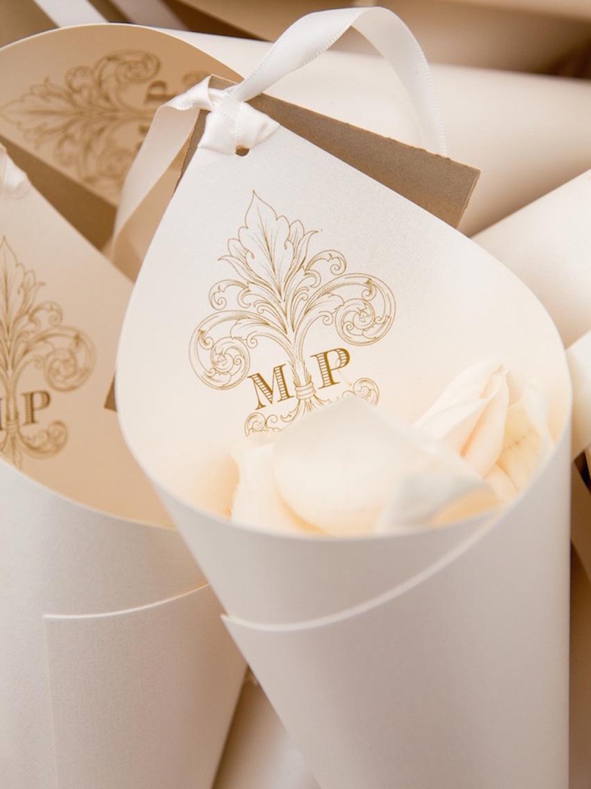 Monogram paper cones for flower petals
