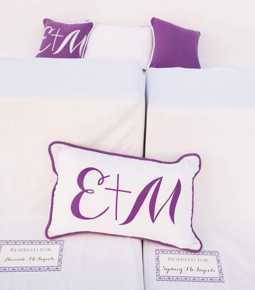 Purple and white monogram wedding pillows
