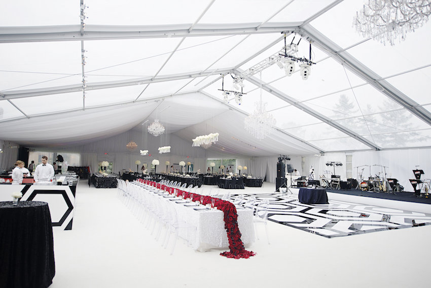 Black and white tent wedding with red details