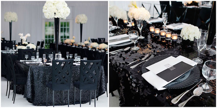 Black sequin wedding table decorations