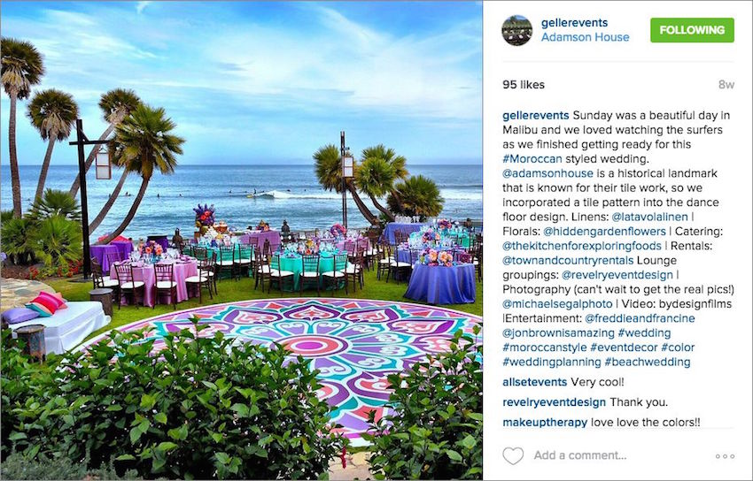Colorful ocean view wedding Debbie Geller Events