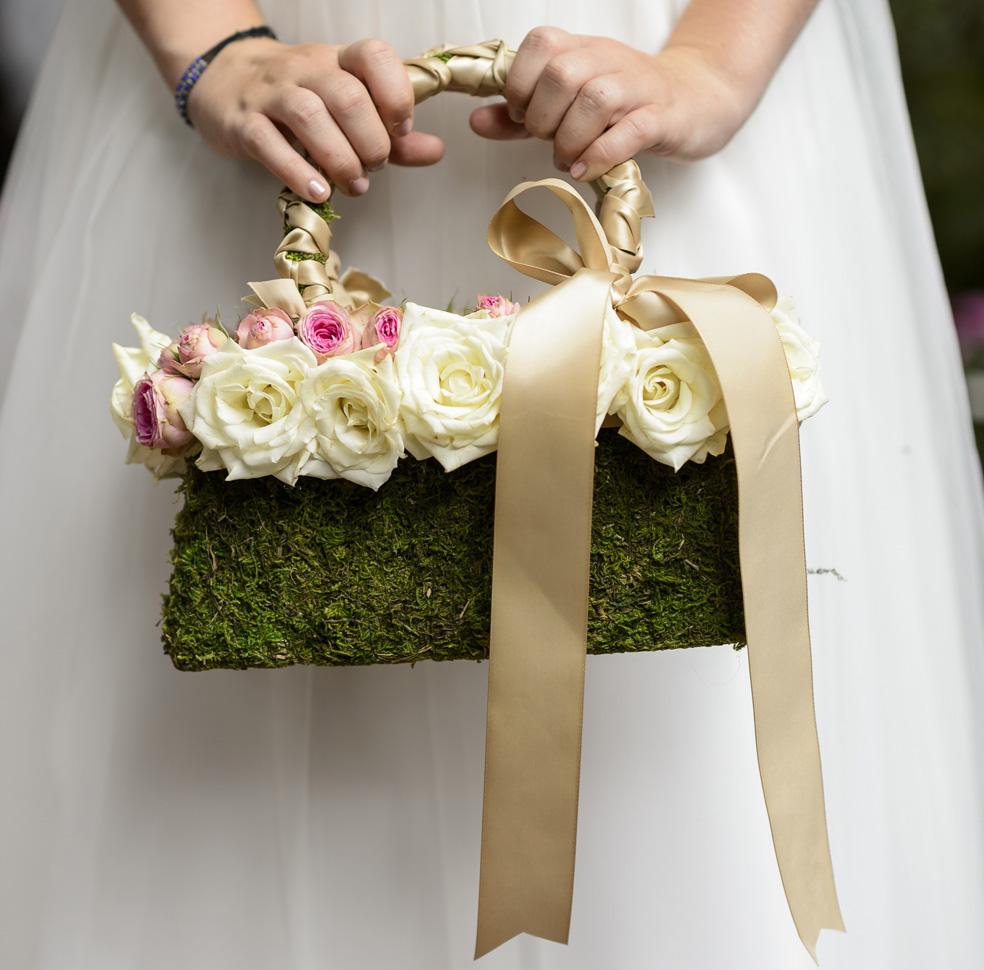 moss flower girl purse
