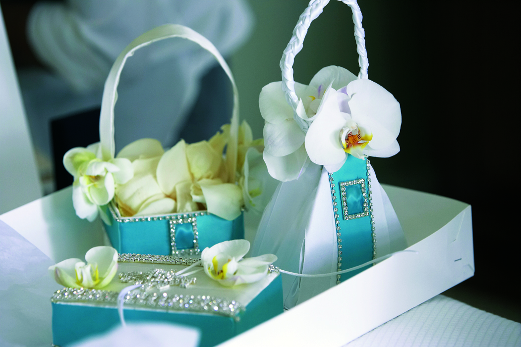 blue and white purses