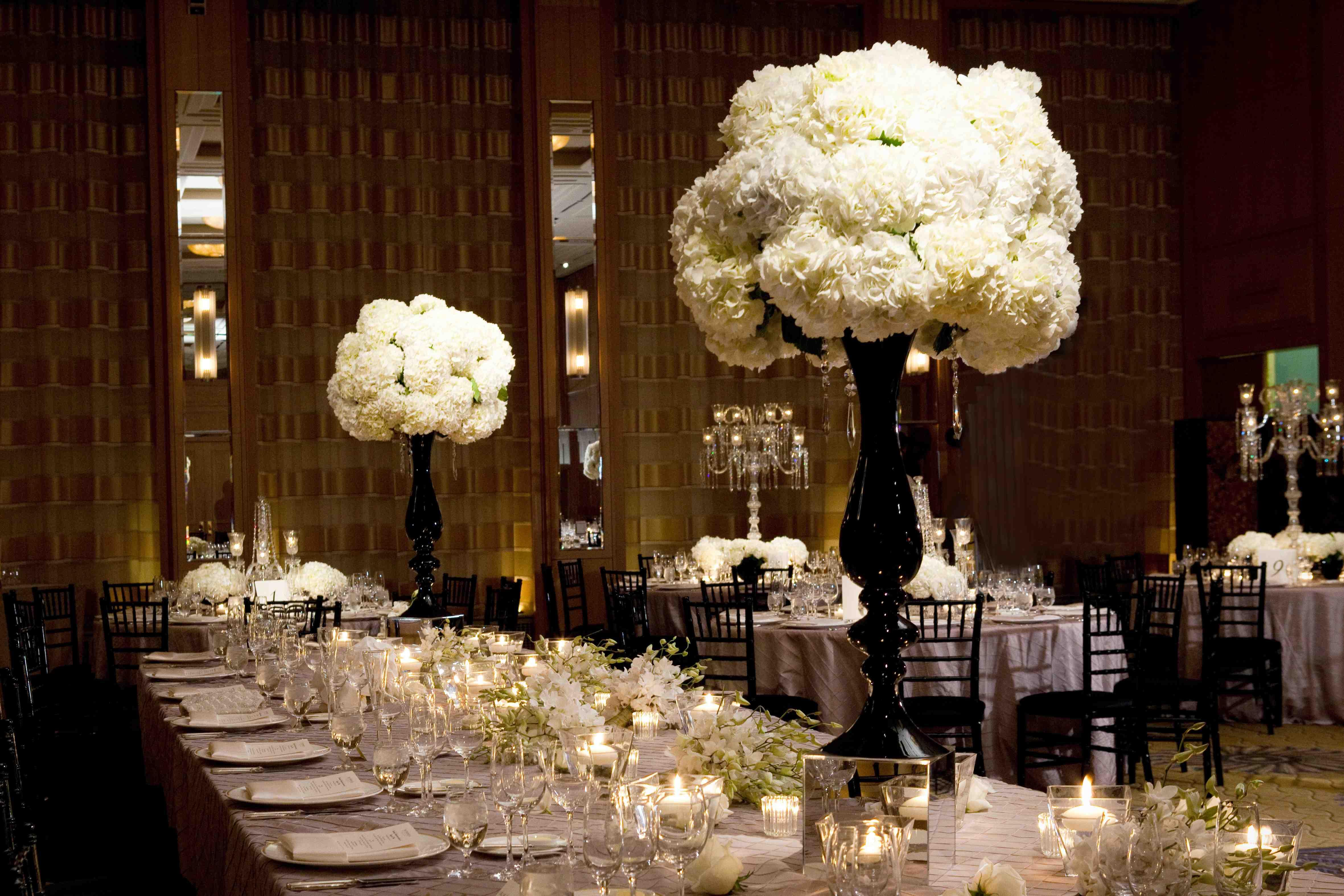 White flower hydrangea centerpiece at wedding