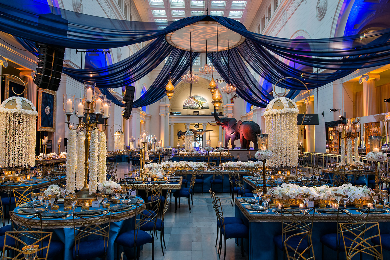 Fall wedding ideas how to design a warm reception inside weddings blue draping junglespirit Choice Image