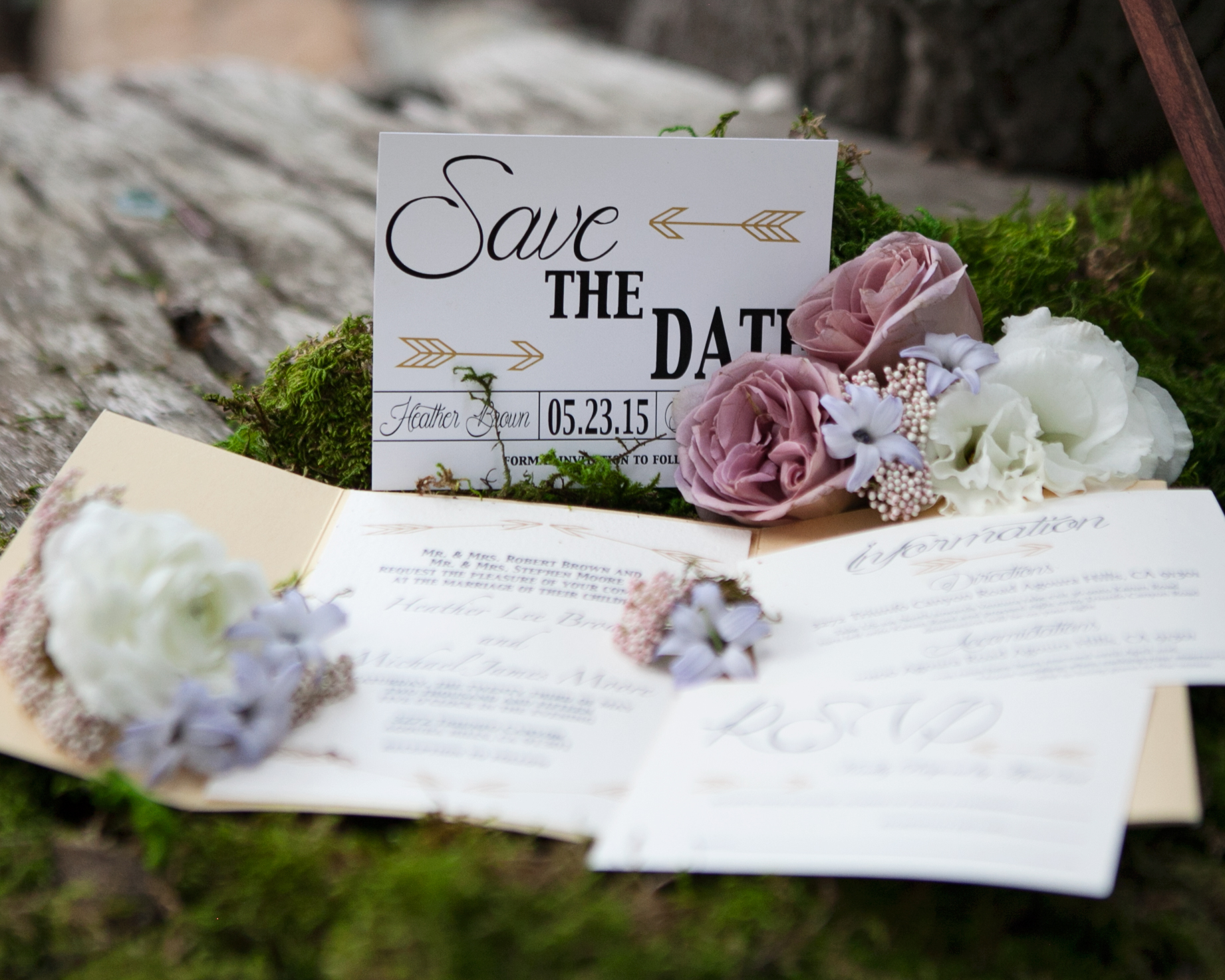 Rustic Wedding Invitations with Natural, Whimsical Details - Inside ...