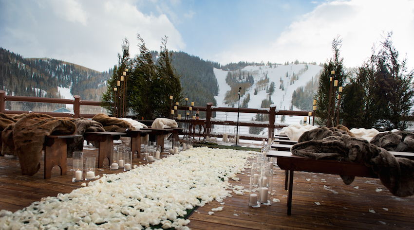 deer valley utah winter snow wedding ceremony