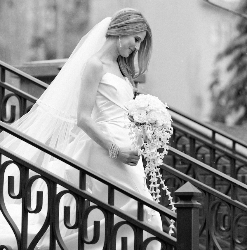 Black And White Photo Of Bridal Processional