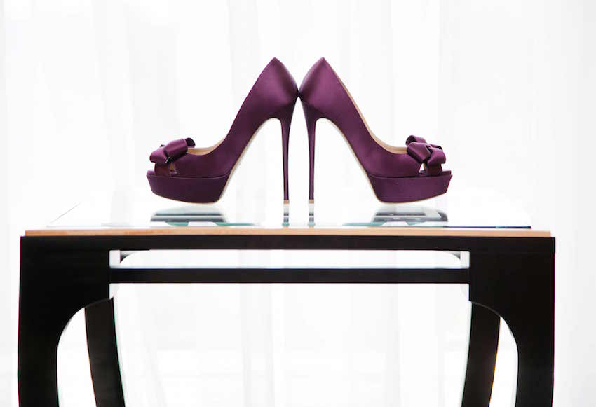 Purple wedding shoe peep toe pumps