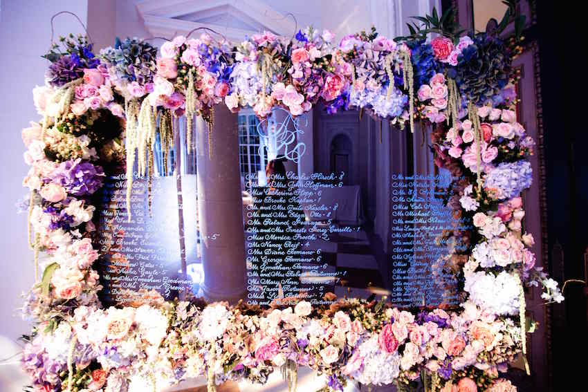 Purple flower on mirror seating chart