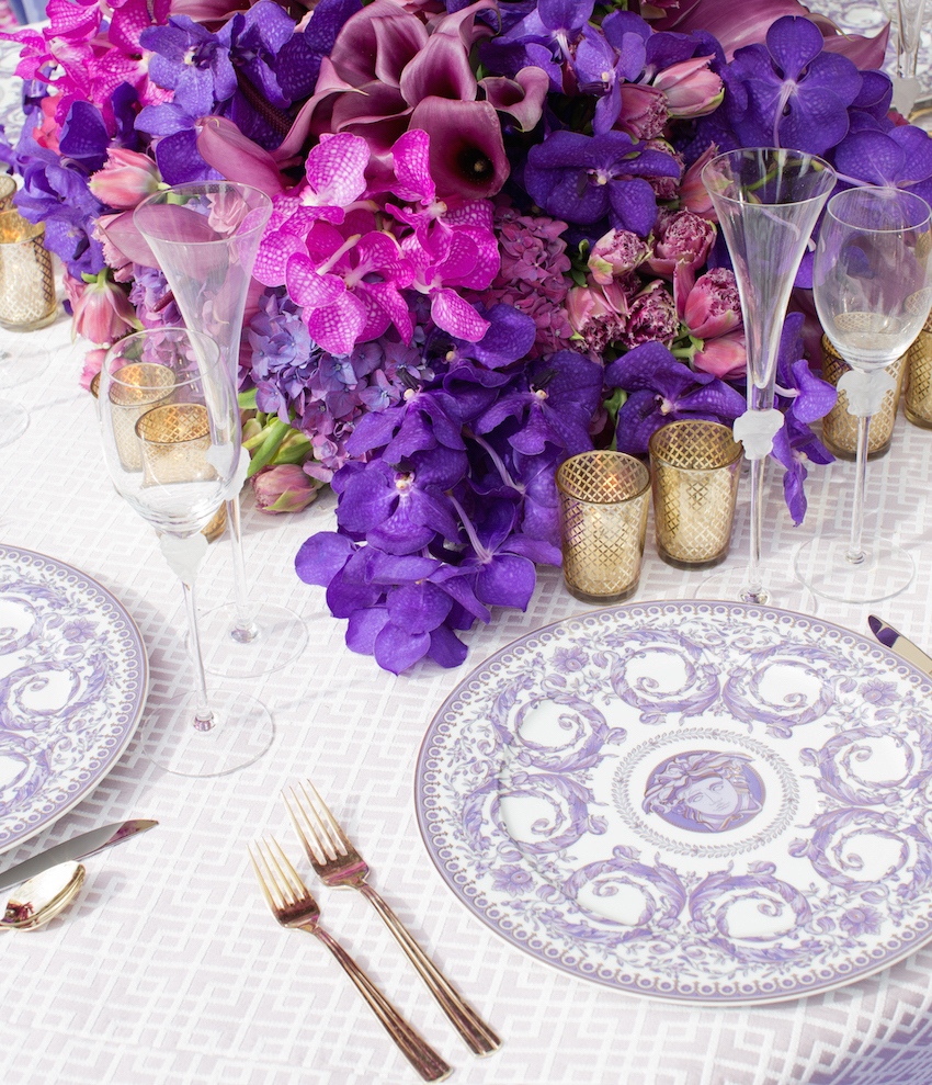 Purple and white wedding china