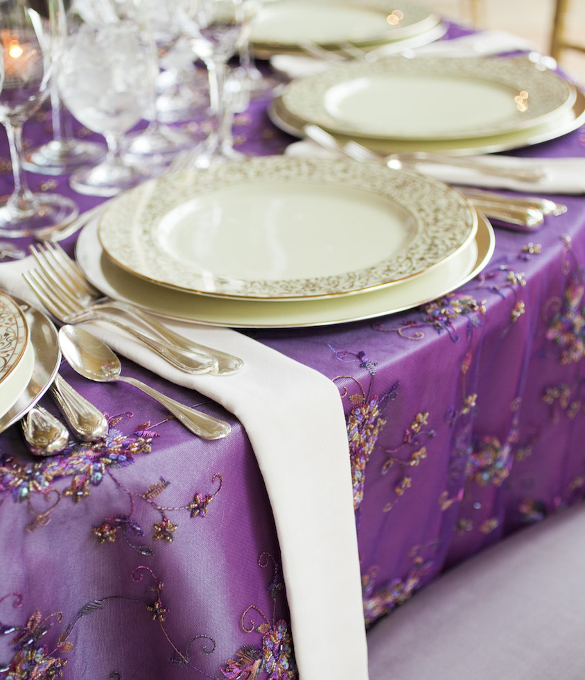 Embroidered purple wedding linens