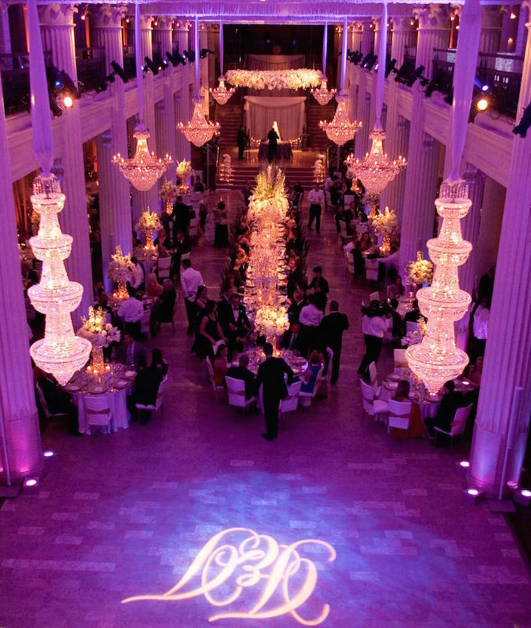Purple lighting at Texas wedding reception