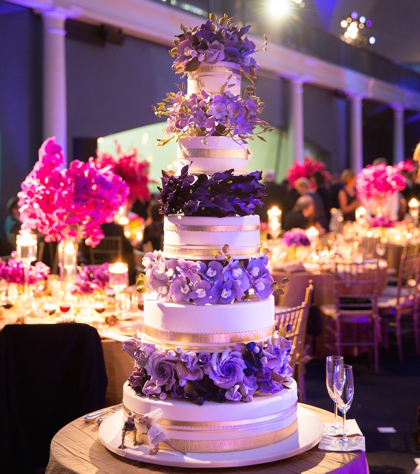 Purple sugar flower wedding cake