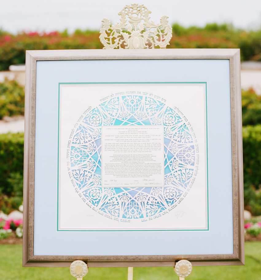blue ketubah on easel at wedding