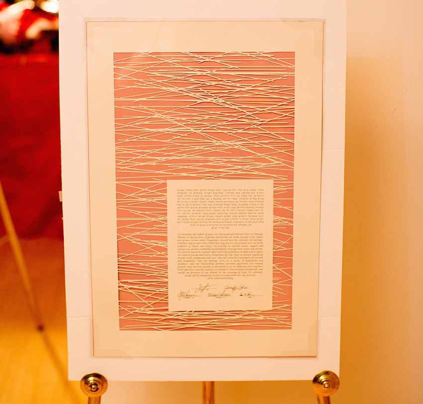 modern orange ketubah at wedding