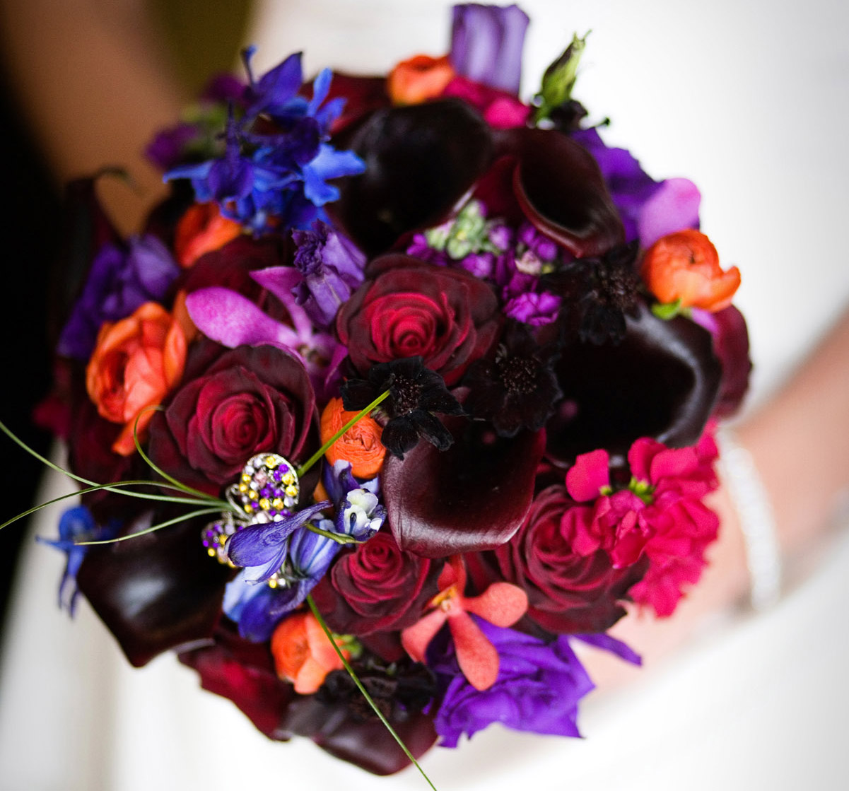 Wedding flowers how to bling out your bridal bouquet inside weddings purple bouquet with jewel izmirmasajfo
