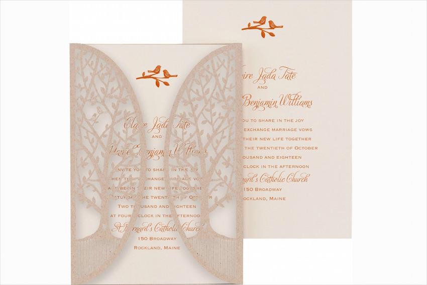 Fall Wedding Invitations Kraft Paper Gold Foil Wedding Invites