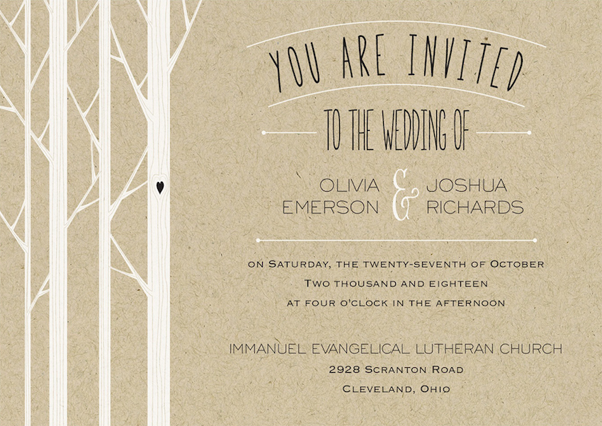 Fall Wedding Invitations: Kraft Paper & Gold Foil Wedding Invites ...