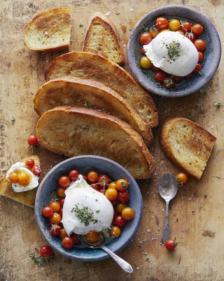 What's Gaby Cooking burrata and tomato toasts