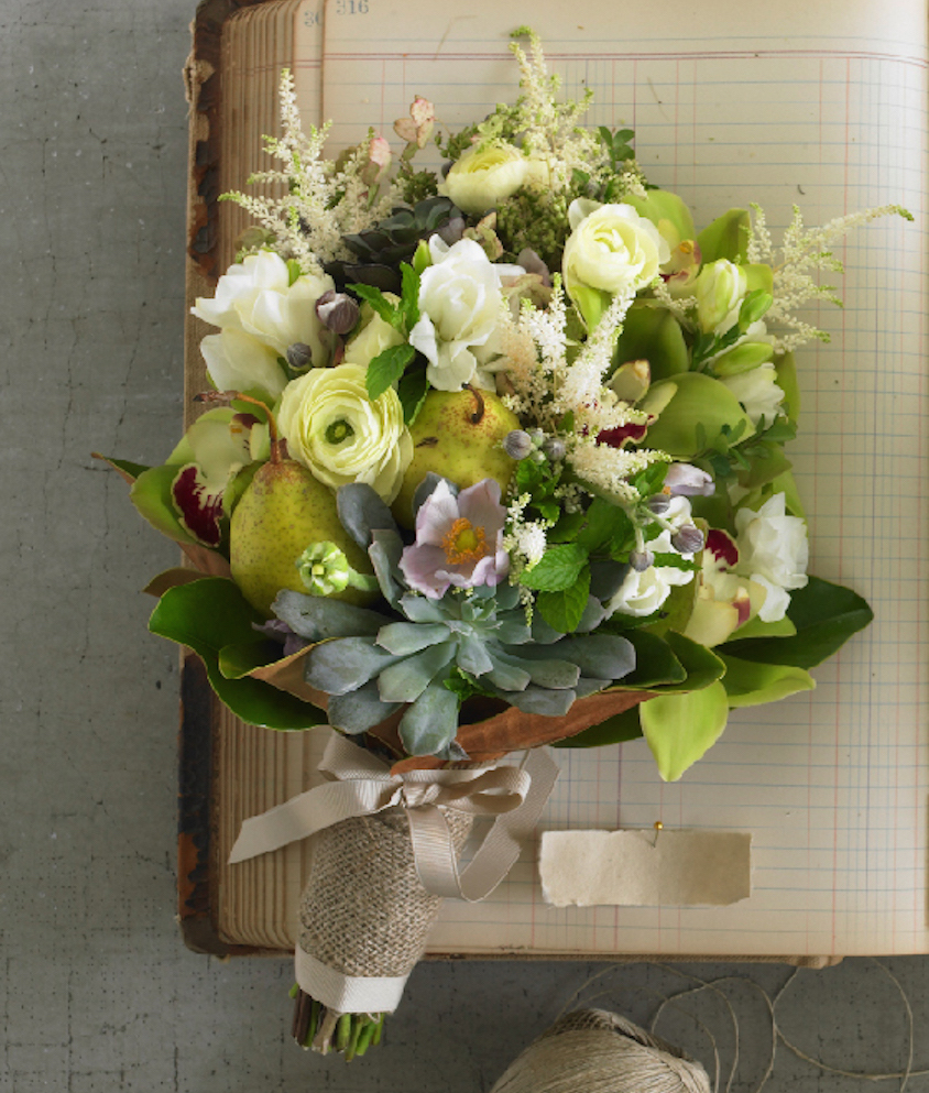 Fall flower bouquet with pears for wedding