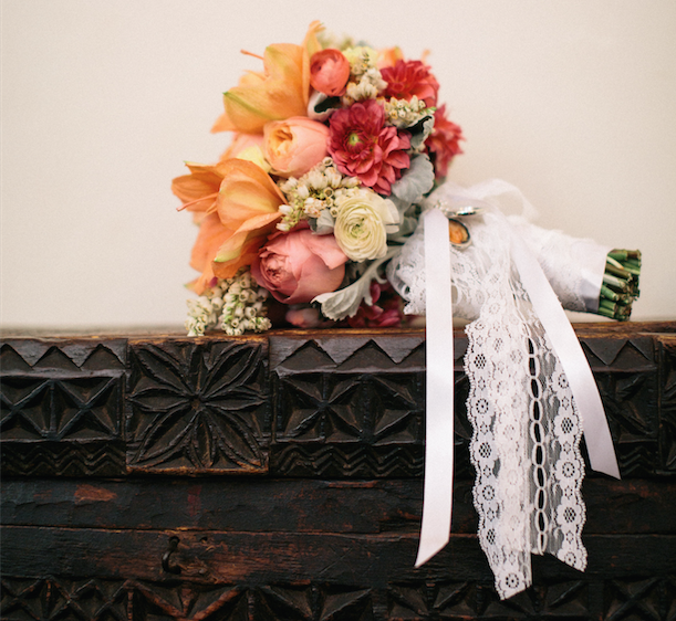 Fall flower bouquet with lace tie