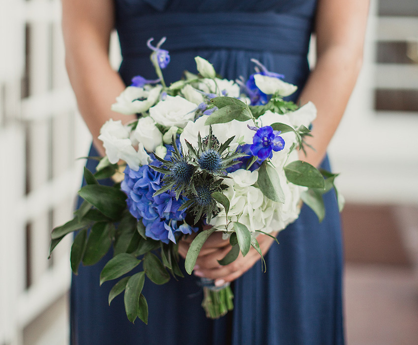 Fall flower bouquets for festive autumn weddings inside weddings blue and white fall flower bridesmaid bouquet mightylinksfo
