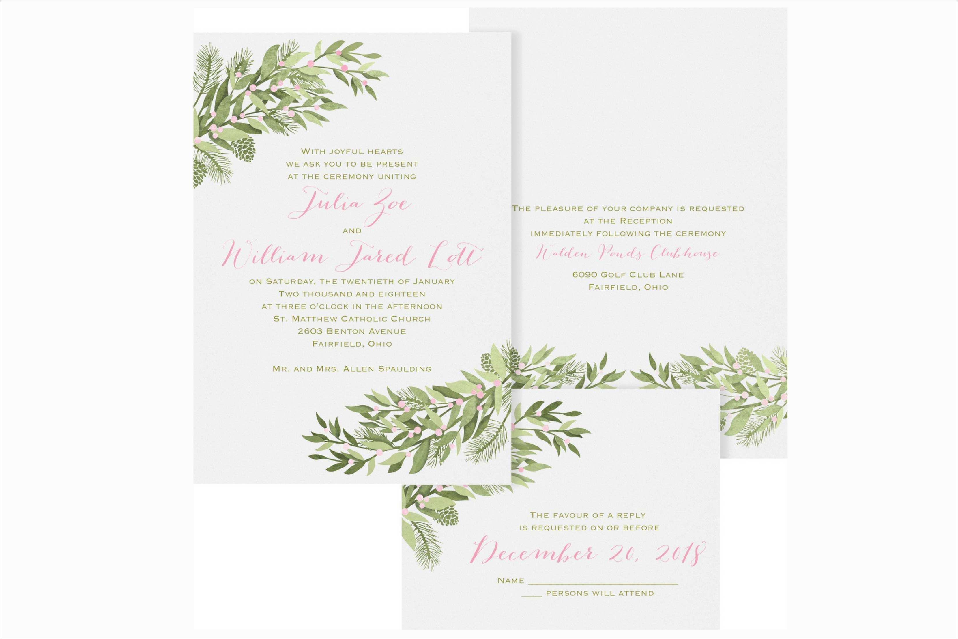 carlson craft winter berries winter wedding invitation - Weddings Invitations